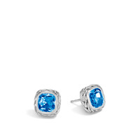 John Hardy Classic Chain Silver Magic Cut Stud Earrings with London Blue Topaz