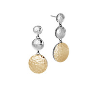 John Hardy Dot Hammered Gold and Silver Triple Drop Earrings