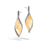 John Hardy Classic Chain Wave Hammered 18K Gold and Silver Drop Earrings