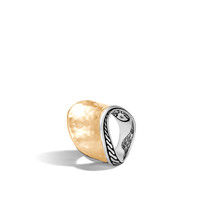 John Hardy Classic Chain Wave Hammered 18K Gold and Silver Saddle Ring