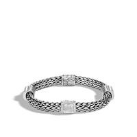 John Hardy Classic Chain Hammered Silver Medium Four Station Bracelet