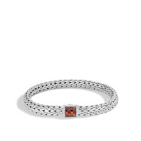 John Hardy Classic Chain Silver Medium Bracelet with Garnet