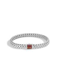 John Hardy Classic Chain Silver Medium Bracelet with Garnet