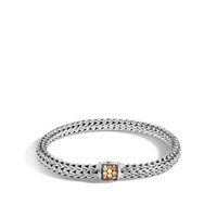 John Hardy Classic Chain Silver Small Bracelet with Mixed Mandarin Garnet