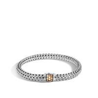 John Hardy Classic Chain Silver Small Bracelet with Mixed Mandarin Garnet