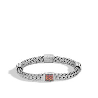 John Hardy Classic Chain Silver Medium Four Station Bracelet with Garnet