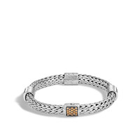 John Hardy Classic Chain Silver Medium Four Station Bracelet with Mixed Mandarin Garnet