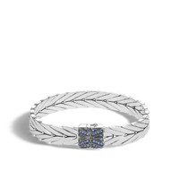 John Hardy Modern Chain Silver Medium Bracelet with Blue Sapphire