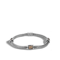 John Hardy Classic Chain Extra Small Four Station Bracelet with Mixed Mandarin Garnet