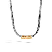 John Hardy Classic Chain Hammered 18K Gold and Silver Pendant