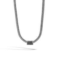 John Hardy Classic Chain Silver Pendant with Black Sapphire and Black Spinel