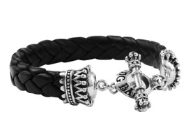 King Baby Studio Black Leather Bracelet with Crown Toggle Clasp