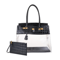 Augustina's Fun Tote in Black Croc