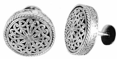 Konstantino Sterling Silver Round Carved Cufflinks
