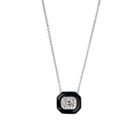Nikos Koulis Oui White Gold Pendant with Emerald Cut Diamond