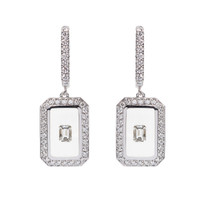 Nikos Koulis Universe Earrings with White Enamel and Emerald Cut Diamonds