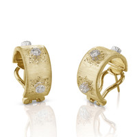 Buccellati Macri Classica 18k Yellow Gold Diamond Earrings