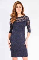 Grayse Stardust Lace Dress in Navy