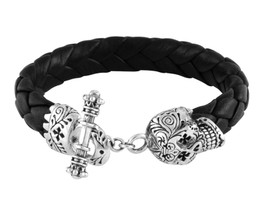 King Baby Studio Black Leather Bracelet with Day of the Dead Skull Toggle Clasp