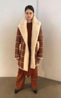 Oscar de la Renta Savanna Shearling Coat with Plaid Print