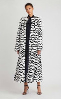 Oscar de la Renta Black and White Mink Intarsia Coat