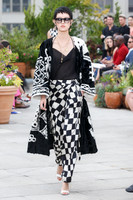 Oscar de la Renta Black and White Lamb Haus Intarsia Coat