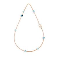 Pomellato Nudo Sky Blue Topaz & Diamond Station Necklace with Ring Clasp