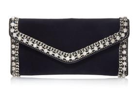 Judith Leiber Couture Envelope Slate Velvet Clutch Bag