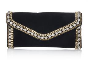 Judith Leiber Couture Envelope Black Velvet Clutch Bag