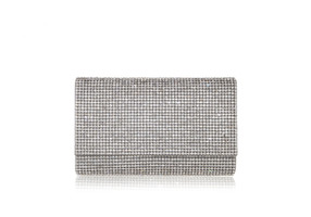 Judith Leiber Couture Fizzy Silver Crystal-Embellished Clutch Bag