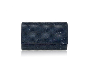 Judith Leiber Couture Fizzy Navy Crystal-Embellished Clutch Bag