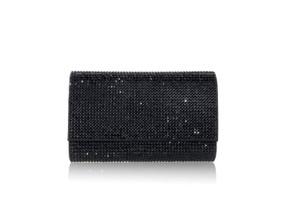 Judith Leiber Couture Fizzy Black Crystal-Embellished Clutch Bag