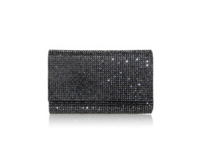 Judith Leiber Couture Fizzy Grey Crystal-Embellished Clutch Bag
