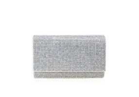 Judith Leiber Couture Fizzy White Opal Crystal-Embellished Clutch Bag