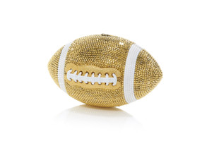 Judith Leiber Couture Football Pigskin Gold Crystal Clutch Bag
