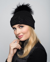 Augustina's Crystal Studded Cashmere Beanie with Black Fur Pom Pom