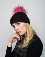 Augustina's Crystal Studded Cashmere Beanie with Hot Pink Fur Pom Pom