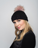 Augustina's Crystal Studded Cashmere Beanie with Pale Pink Fur Pom Pom