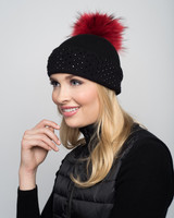 Augustina's Crystal Studded Cashmere Beanie with Red Fur Pom Pom