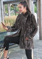 Paula Lishman Honeycomb Natural Stone Sheared Beaver Jacket