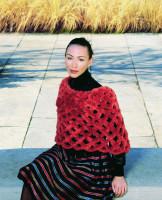 Paula Lishman Hand knit Sheared Beaver Ring Shawl
