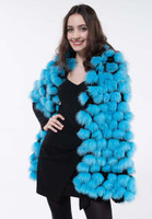 Paula Lishman Reversible Pom Pom Shawl in Black Sheared Beaver with Turquoise Fox