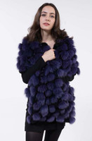 Paula Lishman Reversible Pom Pom Shawl in Black Sheared Beaver with Purple Fox