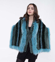 Paula Lishman Turquoise Sheared Beaver Shawl with Teal Fox Trim