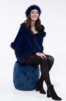 Paula Lishman Cobalt Blue Sheared Beaver Shawl with Cobalt Blue Fox Trim