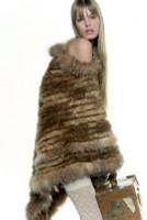 Paula Lishman Hand Knit Beaver Fur Trillium Wrap with Fox Trim