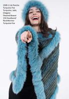 Paula Lishman Hand Knit Arctic Blue Sheared Beaver Fox Trim Lily Poncho