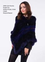 Paula Lishman Hand Knit Violet Sheared Beaver Fox Trim Lily Poncho