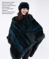 Paula Lishman Hand Knit Cypress Sheared Beaver Larkspur Poncho
