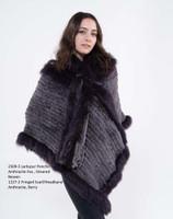 Paula Lishman Hand Knit Anthracite Sheared Beaver Larkspur Poncho